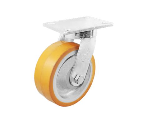 80Series系列-黄色平顶PU包银漆生铁脚轮