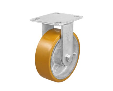 81Series系列-黄色平顶PU包银漆生铁脚轮-重型脚轮