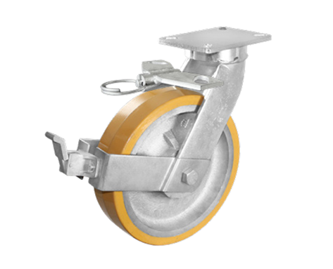 83Series系列-黄色平顶PU包银漆生铁脚轮