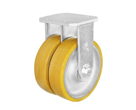 88Series系列-黄色PU包银漆生铁双轮-重型脚轮
