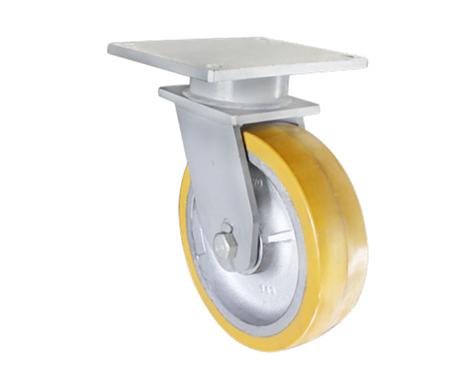 89Series系列-黄色PU包银漆生铁脚轮-重型脚轮
