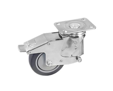 47Series系列-圆顶深灰色PU包灰色PP弹簧防震脚轮