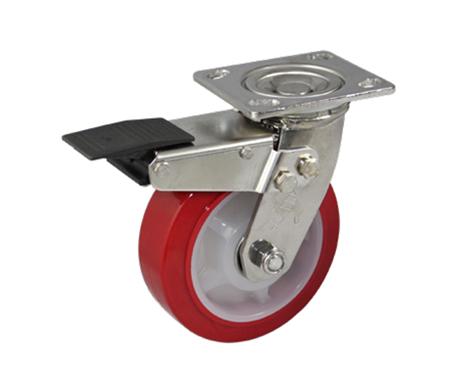 65Series系列-红色PU包白色PP不锈钢脚轮-重型脚轮