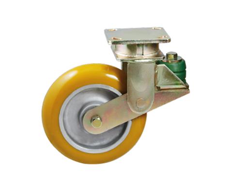 82Series系列-黄色圆顶PU包铝芯防震脚轮